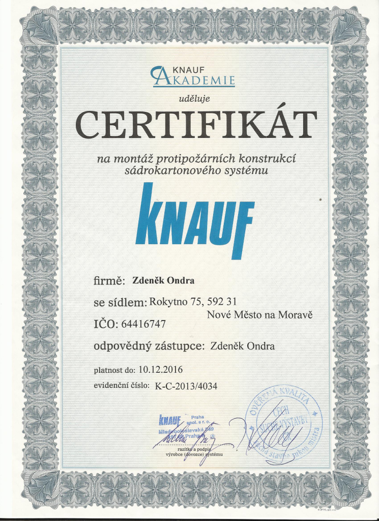 <h3>Certifikát Knauf</h3>
